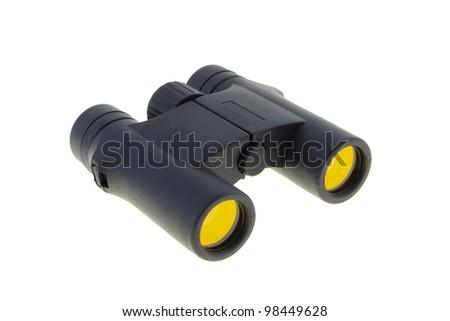 hunting binoculars with the masking coating on a white background - stock photo