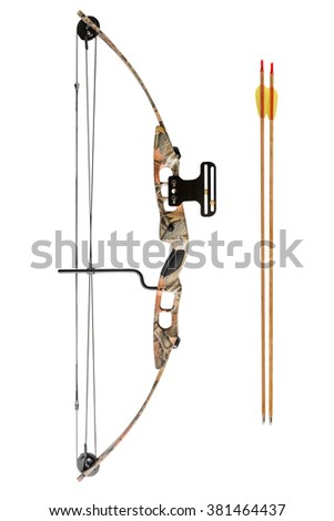 hunting bow and arrow isolated on white background