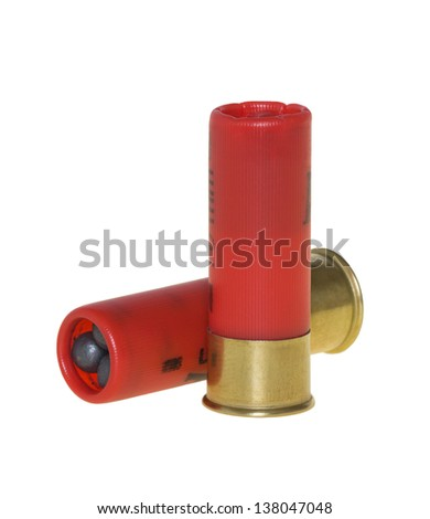 Hunting cartridges for shotgun on a white background - stock photo