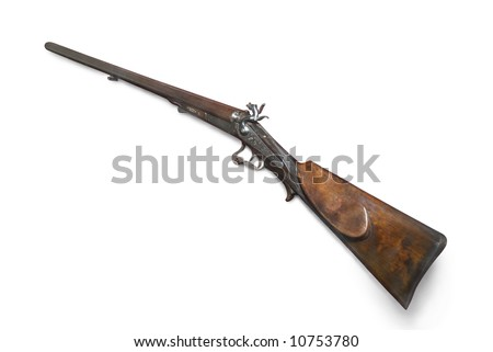 Hunting double-barrelled gun (Lefaucheux system). Lefaucheux is Paris gunmaker of 19 century. France. With path on white background - stock photo