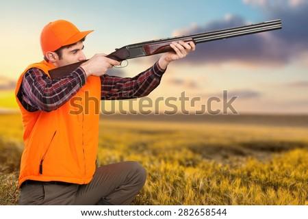Hunting, Hunter, Target Shooting. - stock photo