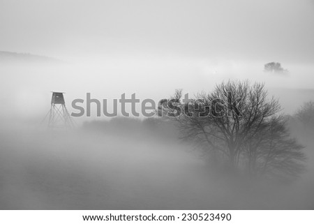 Hunting lookout tower in fog, Czech Republic. - stock photo