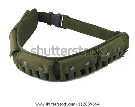 Hunting modern ammunition belt for ammo cartridges - stock photo