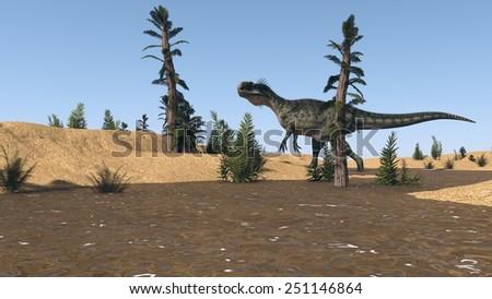 hunting monolophosaurus - stock photo