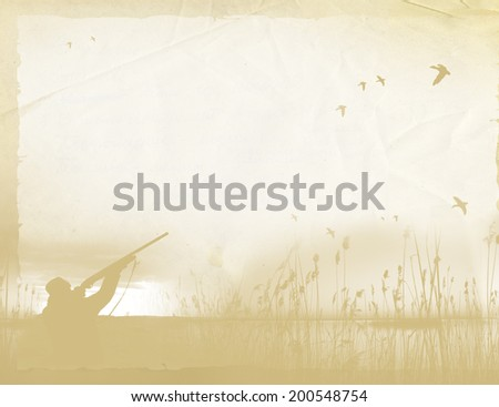 Hunting on the old paper background Page of the old book with the silhouette of a hunter and scenery, yellowed sheet of paper, faded background  - stock photo