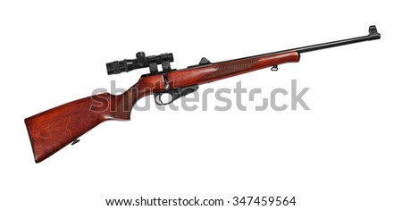 Hunting repeating rifle with a telescopic sight caliber .22 LR. Isolated on white background - stock photo