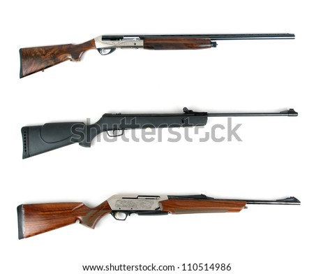 Hunting rifles - modern shotguns and modern rifle isolated on white background