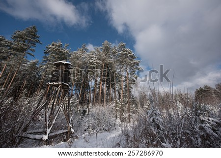 hunting tower near edge of the forest in winter - stock photo - stock photo
