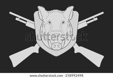 Hunting trophy. Stuffed taxidermy wild boar head with big tusks in wood shield. 2 crossed shotguns. Blackboard chalk raster illustration isolated on black - stock photo