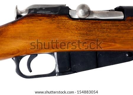 Hunting vintage rifle closeup - stock photo