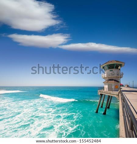 Huntington beach main lifeguard tower Surf City California USA - stock photo