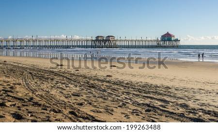 Huntington Beach Pier and coastline - stock photo