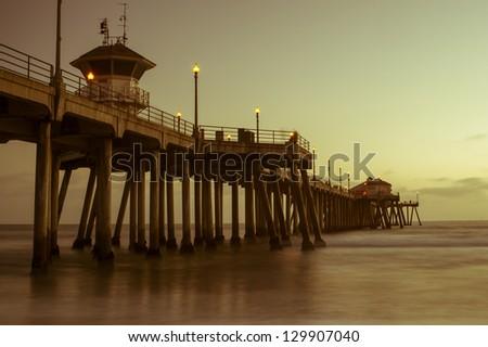 huntington Beach pier at sunset - stock photo