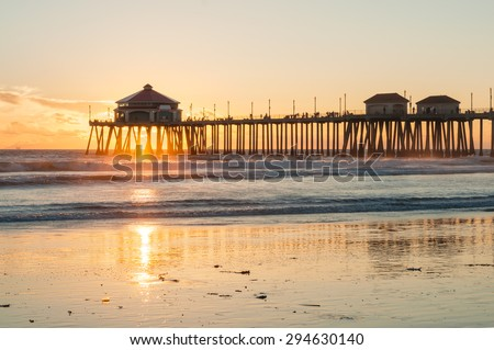 Huntington Beach Pier Sunset HDR - stock photo