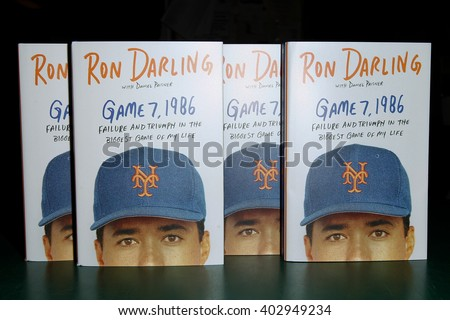 "HUNTINGTON, NY-APR 6: Former New York Mets pitcher Ron Darling signs his book ""Game 7, 1986: Failure and Triumph in the Biggest Game of My Life"" at Book Revue on April 6, 2016 in Huntington, New York. - stock photo"