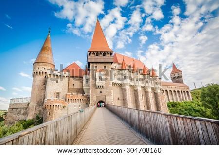Hunyad Castle / Corvin's Castle in Hunedoara, Romania. Romanian castle landmarks. Front view. - stock photo