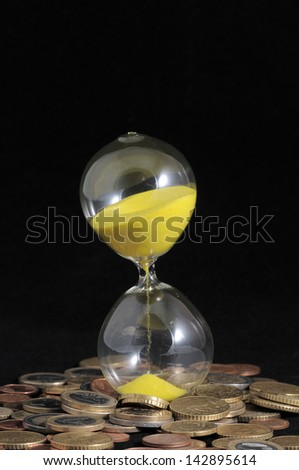 Huouglass and Money - Time is Money - stock photo