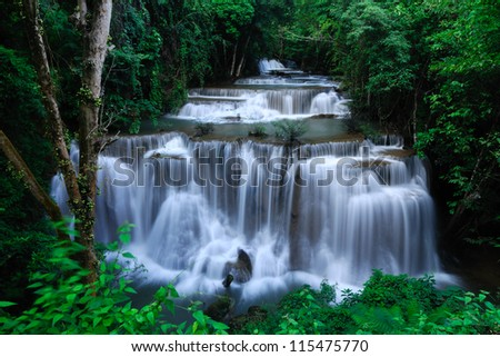 Huoy Maekamin waterfall Kanchanaburi Thailand - stock photo