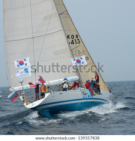 "HUPO, SOUTH KOREA - MAY19: Korea Cup International Yacht Race. Team ""Diva"" struggling for first place, 19 May 2012. Hupo, South Korea"