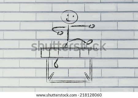 hurdle design, metaphor of overcoming the obstacles in life and winning the challenge - stock photo