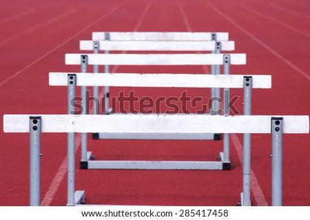 hurdle race - stock photo