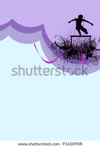 Hurdles athlete background with space (poster, web, leaflet, magazine) - stock photo