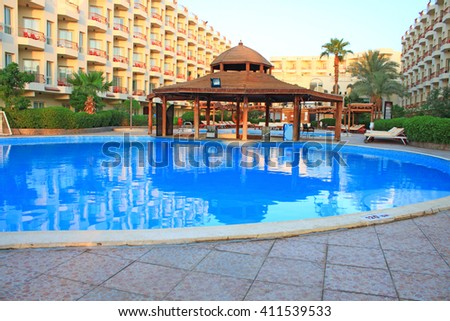 HURGHADA , EGYPT - APR 13, 2016: Mirage New Hawaii Resort in Hurghada at morning on 13 April 2016.