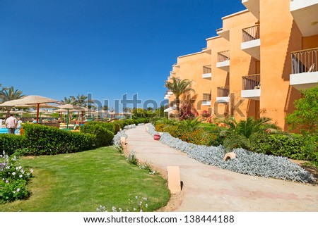 HURGHADA ,EGYPT - APR 11, 2013:Tropical resort Three Corners Sunny Beach in Hurghada on 11 April 2013. Three Corners is Belgian company with 11 hotels at Red Sea in Egypt and one in Budapest - Hungary