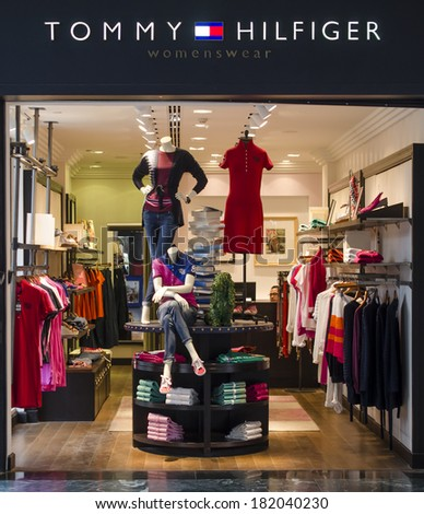 HURGHADA, EGYPT - MARCH 16, 2014: Tommy Hilfiger Store. Tommy Hilfiger Corporation is an American clothing company which is incorporated in Hong Kong.  - stock photo