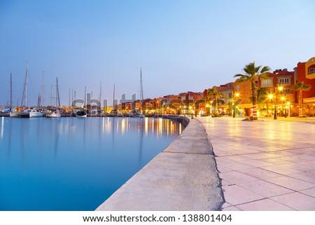 Hurghada Marina at sunset in Egypt - stock photo
