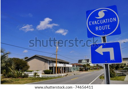 Hurricane Evacuation Route Road Sign