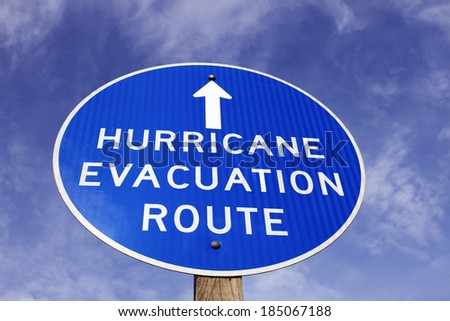 Hurricane evacuation route sign - seen in Dover, Delaware - stock photo