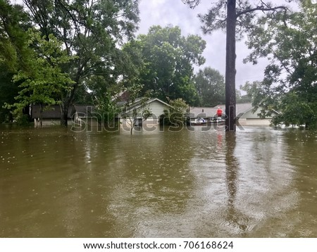 Hurricane Harvey 2017, Flooding In North Hill Estates Off East Cypresswood  In Spring Texas, Part 65