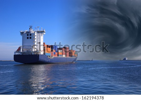 Hurricane is arriving in the port - Image is an artistic digital rendering. - stock photo