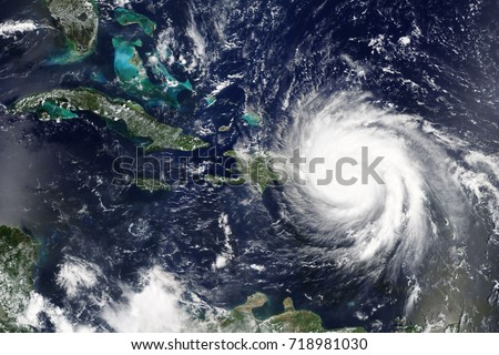 Hurricane Maria makes landfall in Puerto Rica in September 2017 - Elements of this image furnished by NASA