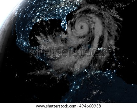 Hurricane Matthew at night from space approaching Florida. 3D illustration. Elements of this image furnished by NASA