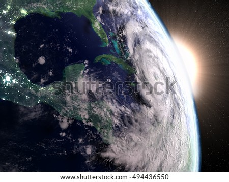 Hurricane Matthew from space approaching Florida in America during sunrise. 3D illustration. Elements of this image furnished by NASA