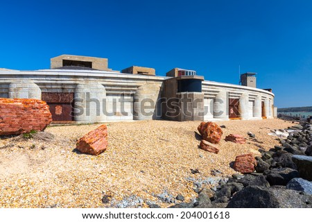 Hurst Castle near Milford-on-Sea Hampshire in England, built by Henry VIII it is located at the end of a long shingle spit and guards the entrance to the Solent. - stock photo