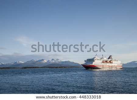 Hurtigruten ship on June 12, 2016 in Molde Norway