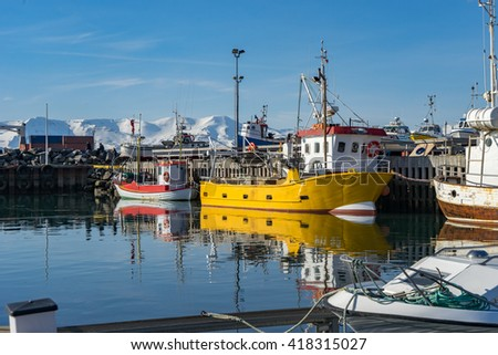 Husavik harbour Views around Iceland, Northern Europe in winter with snow and ice