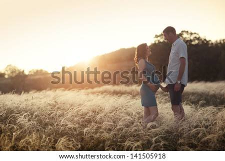 husband and his pregnant wife are walking at sunset in field on the outside. 	 theme  romantic pregnancy outdoors. - stock photo