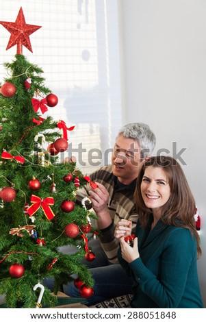 Husband and wife decorating christmas tree - stock photo