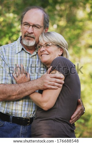 Husband And Wife Embracing - stock photo