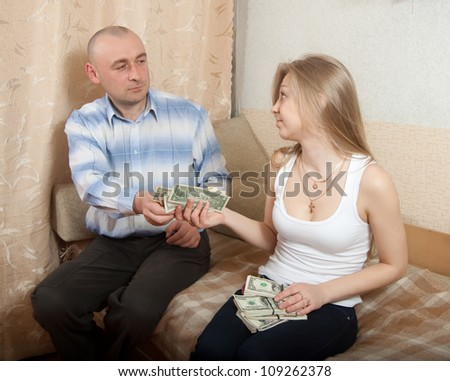 husband and wife having a financial problems - stock photo