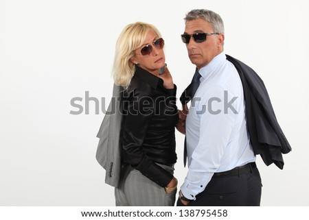 Husband and wife hitting the town - stock photo