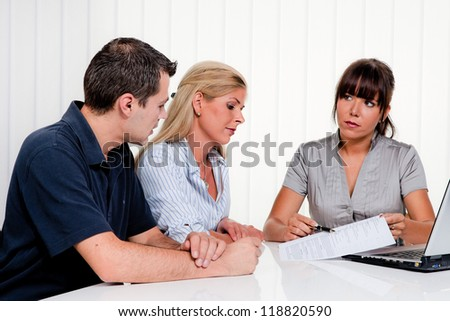 husband and wife in a counseling session - stock photo