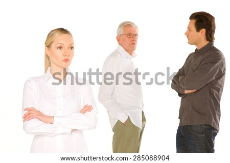 husband wife father in law standing on white background - stock photo