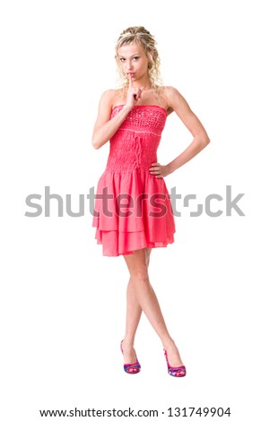 Hush be quiet woman isolated. Beautiful young woman isolated in full length on white background. - stock photo