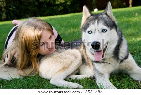 husky and her owner - stock photo
