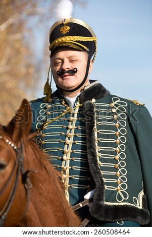 hussar and horse, hussars ride. history - stock photo